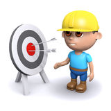 3d Builder hits the target. 3d render of a builder by a target with arrows in the bullseye Stock Image