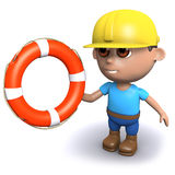 3d Builder holds out a life ring. 3d render of a builder holding a life ring Stock Photo