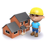 3d Builder with house. 3d render of a builder next to a house Stock Photography
