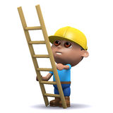 3d Builder with ladder. 3d render of a builder with a ladder Royalty Free Stock Photography