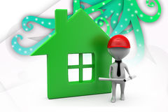 3d builder man with home illustration Stock Photography