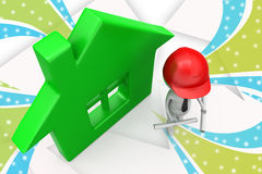 3d builder man with home illustration Stock Photos