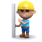 3d Builder measures up. 3d render of a builder measuring with a ruler Royalty Free Stock Photo