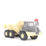 3d builder, miner or workman on a large truck. 3d builder, miner or workman sitting in his hardhat on the bonnet on a large yellow industrial truck, rendered Royalty Free Stock Photo