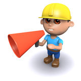 3d Builder needs a megaphone. 3d render of a builder using a megaphone Royalty Free Stock Photos