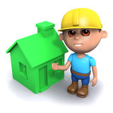 3d Builder next to a green house. 3d render of a builder next to a green house Stock Images