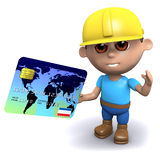 3d Builder pays with a credit card. 3d render of a builder using a credit card Royalty Free Stock Images