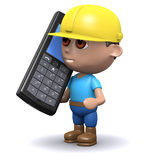 3d Builder on phone. 3d render of a builder talking on a giant mobile phone Royalty Free Stock Photos