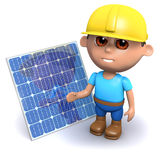 3d Builder with solar panel. 3d render of a builder with a solar panel Stock Image