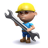 3d Builder and spanner. 3d render of a builder with a spanner Stock Image