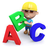 3d Builder teaches the alphabet. 3d render of a builder with the letters A, B and C Royalty Free Stock Images