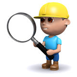 3d Builder uses a magnifying glass. 3d render of a builder holding a magnifying glass Royalty Free Stock Photography