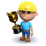 3d Builder wins the gold cup. 3d render of a builder holding a gold cup Royalty Free Stock Photography
