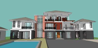 3D of building beatiful. 3D  of building ,House of project in thailand Stock Photo