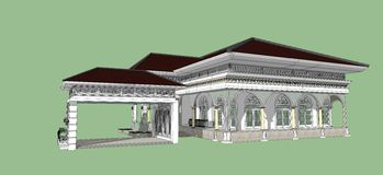 3D of building beatiful. 3D wireframe of building ,House of project in thailand Stock Photo