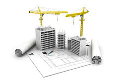 3d building  block in construction. And  crane on top of blueprints Stock Photography
