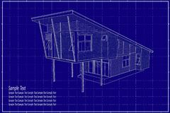 3D building on blueprint. Architectural drawing elevation house on blueprint Royalty Free Stock Photos