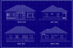 3D building on blueprint. Architectural drawing elevation house on blueprint Royalty Free Stock Photo