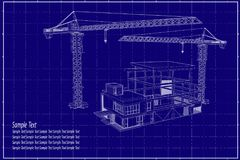 3D building on blueprint. Drawing construction crane and 3D building Stock Images