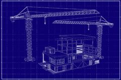 3D building on blueprint. Drawing construction crane and 3D building Stock Photography