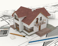 3D building with blueprint plans. And calculator and ruler Stock Image