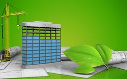 3d of building construction. 3d illustration of building construction with crane over green background Stock Images