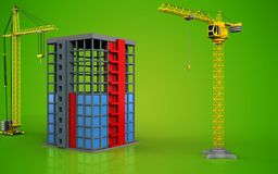 3d of building construction. 3d illustration of building construction with crane over green background Royalty Free Stock Photo