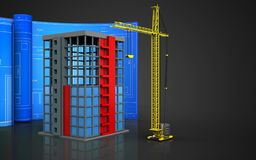 3d of building construction. 3d illustration of building construction with drawing roll over black background Royalty Free Stock Photography