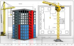 3d of building construction. 3d illustration of building construction with crane over blueprint background Stock Photography