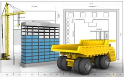 3d of building construction. 3d illustration of building construction with crane over blueprint background Stock Photos