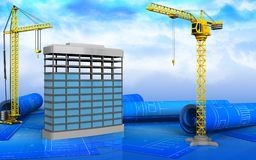 3d of building construction. 3d illustration of building construction with crane over sky background Royalty Free Stock Images