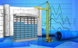 3d of building construction. 3d illustration of building construction with drawings over graph background Stock Images