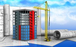 3d of building construction. 3d illustration of building construction with drawings over sky background Stock Photo