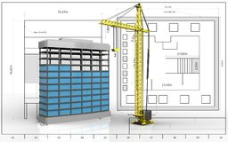 3d of building construction. 3d illustration of building construction over blueprint background Royalty Free Stock Photos