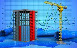3d of building construction. 3d illustration of building construction over graph background Stock Photos