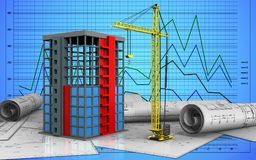 3d of building construction. 3d illustration of building construction over graph background Royalty Free Stock Photo