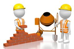 3D building a house concept. 3D cartoon characters building wall with bricks, concrete mixer - great for topics like construction site, house building etc Stock Photo