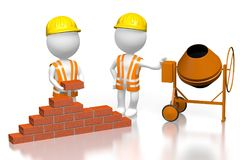 3D building a house concept. 3D cartoon characters building wall with bricks, concrete mixer - great for topics like construction site, house building etc Stock Photography