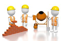 3D building a house concept. 3D cartoon characters building wall with bricks, concrete mixer and shovel - great for topics like construction site, house building Royalty Free Stock Photo