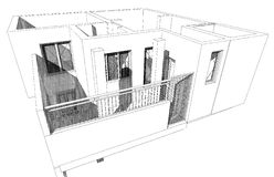 3D building. 3D house drawing Royalty Free Stock Photos
