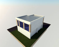 3D building. 3D house drawing Royalty Free Stock Images