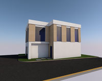 3D building. 3D house drawing Stock Photography