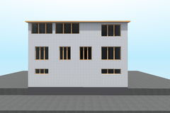 3D building. 3D house drawing line, exterior design,  3D home, rendering residential, building, caffe Stock Photography