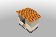 3D building. 3D house drawing line, exterior design,  3D home, rendering residential, building, caffe Stock Images