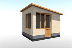 3D building. 3D house drawing line, exterior design,  3D home, rendering residential, building, caffe Royalty Free Stock Image
