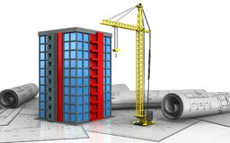 3d of building. 3d illustration of building over white background Royalty Free Stock Photography