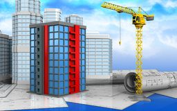 3d of building. 3d illustration of building with urban scene over sky background Royalty Free Stock Photography