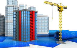 3d of building. 3d illustration of building with urban scene over white background Stock Photography