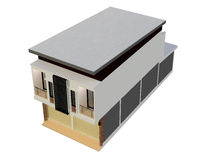 3D building isolated render. 3D building isolated on white - Render illustration Royalty Free Stock Photography
