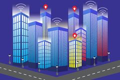 Smart phone with isometric city modern desighn of building stock illustration